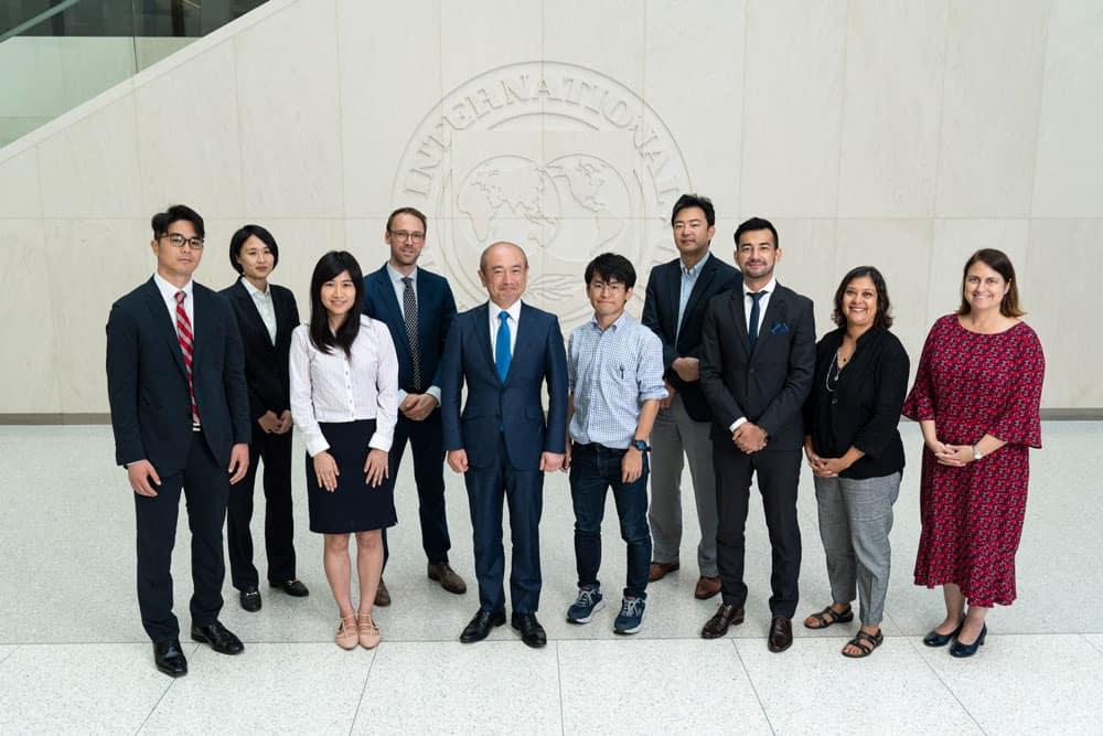 Japan-IMF Scholars Group Photo with Japanese Executive Director Takuji Tanaka at the International Monetary Fund in Washington on August 22, 2019.  IMF Photo/Joshua Roberts